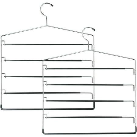 Honey Can Do 5-Tier Swinging Arm Pant Rack, Chrome/Black, 2-Pack