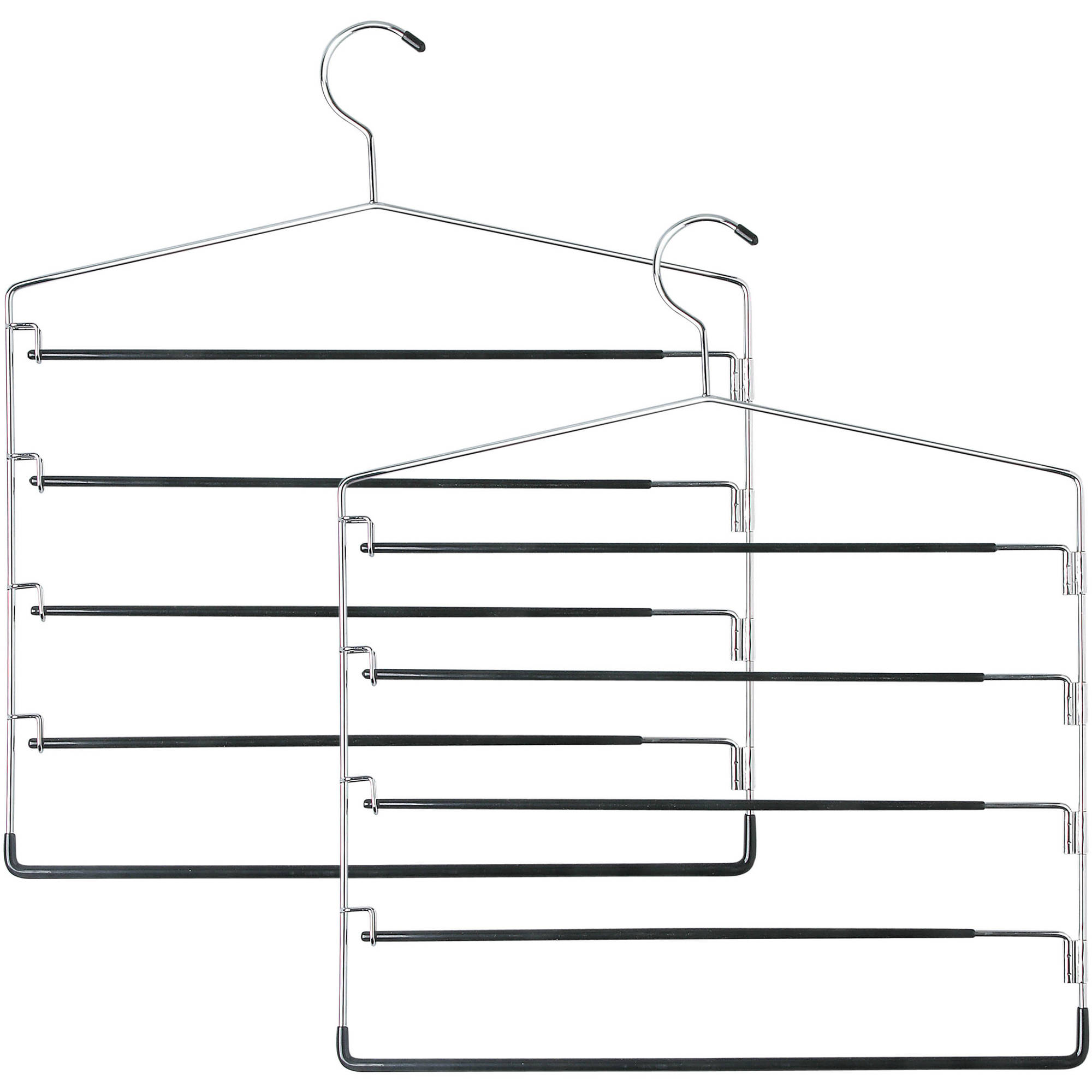 Honey Can Do 5-Tier Swinging Arm Pant Rack, Chrome/Black, 2-Pack