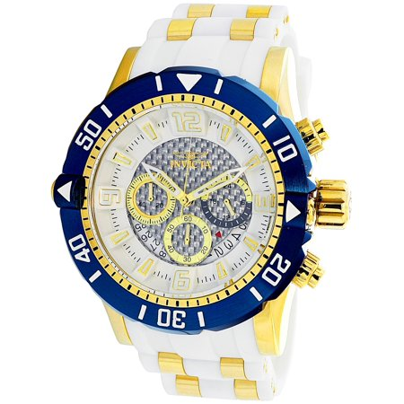 Gold Chronograph Swiss - Men's Pro Diver 23706 White Rubber Swiss Chronograph Diving Watch