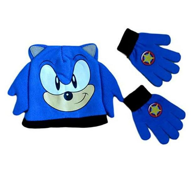 Sonic The Hedgehog Big Face Knit Beanie Hat And Matching Gloves Set Walmart Com Walmart Com