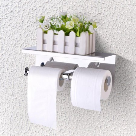 Wall Mounted SUS 304 Stainless Steel Double Roll Toilet Paper Holder, Dual Paper Tissue Roll