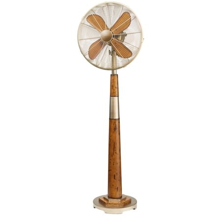 "55"" Stylish Vintage Gold Base and Neck with Brown Wood-Grain Body Oscillating Standing Floor Fan"