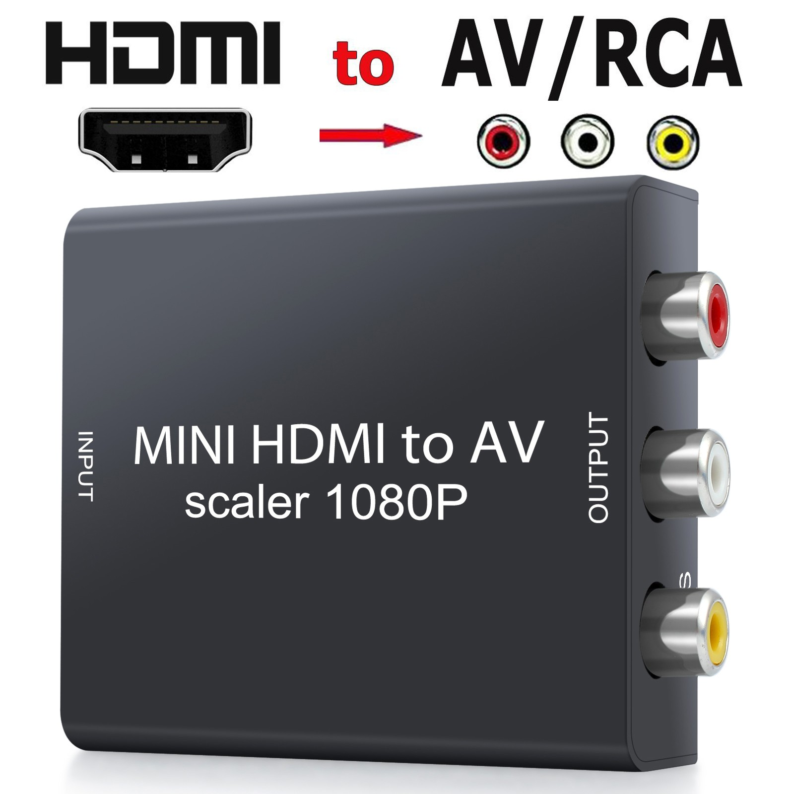 HDMI to 3 RCA CVBS AV Audio Video Converter Adapter for TV Xbox PS3 PS4 Ray DVD Computer Projector Converter