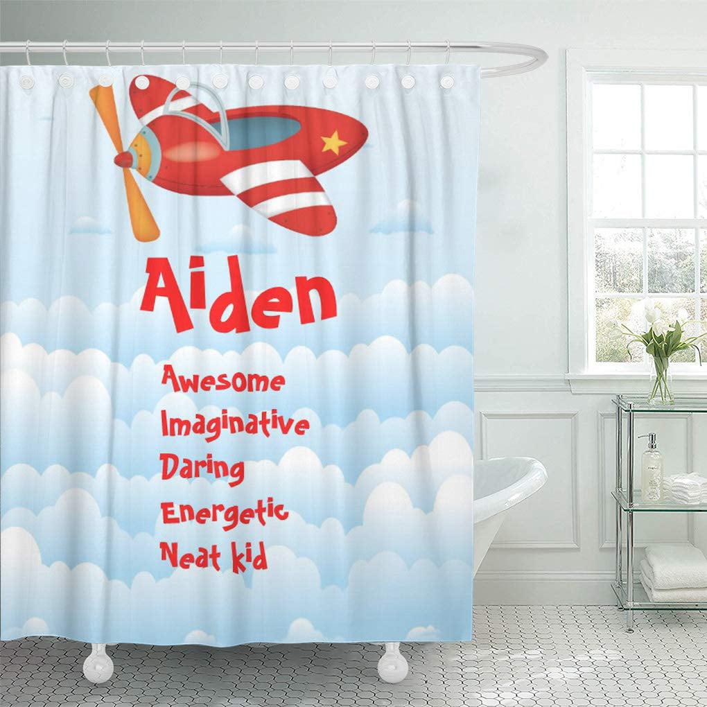 Yusdecor Wall Kids Airplane Name Room Plane Little Boy Bathroom Decor Bath Shower Curtain 60x72 Inch Walmart Canada