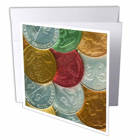3dRose Gold Silver Red Real Mardi Gras Coins, Greeting Cards, 6 x 6 inches, set of -