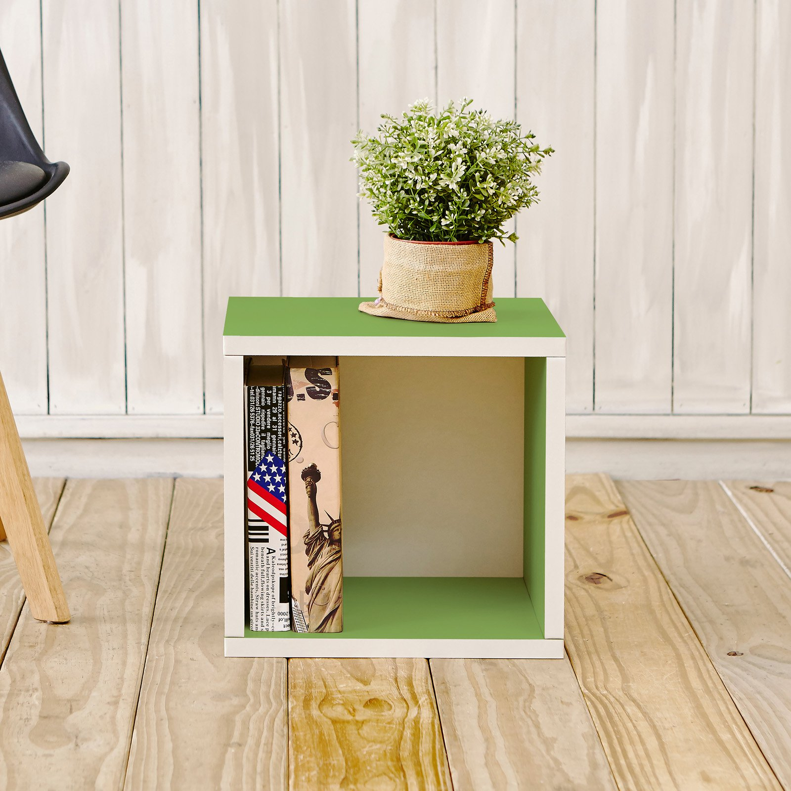 Way Basics Eco Stackable Storage Cube and Cubby Organizer, Green