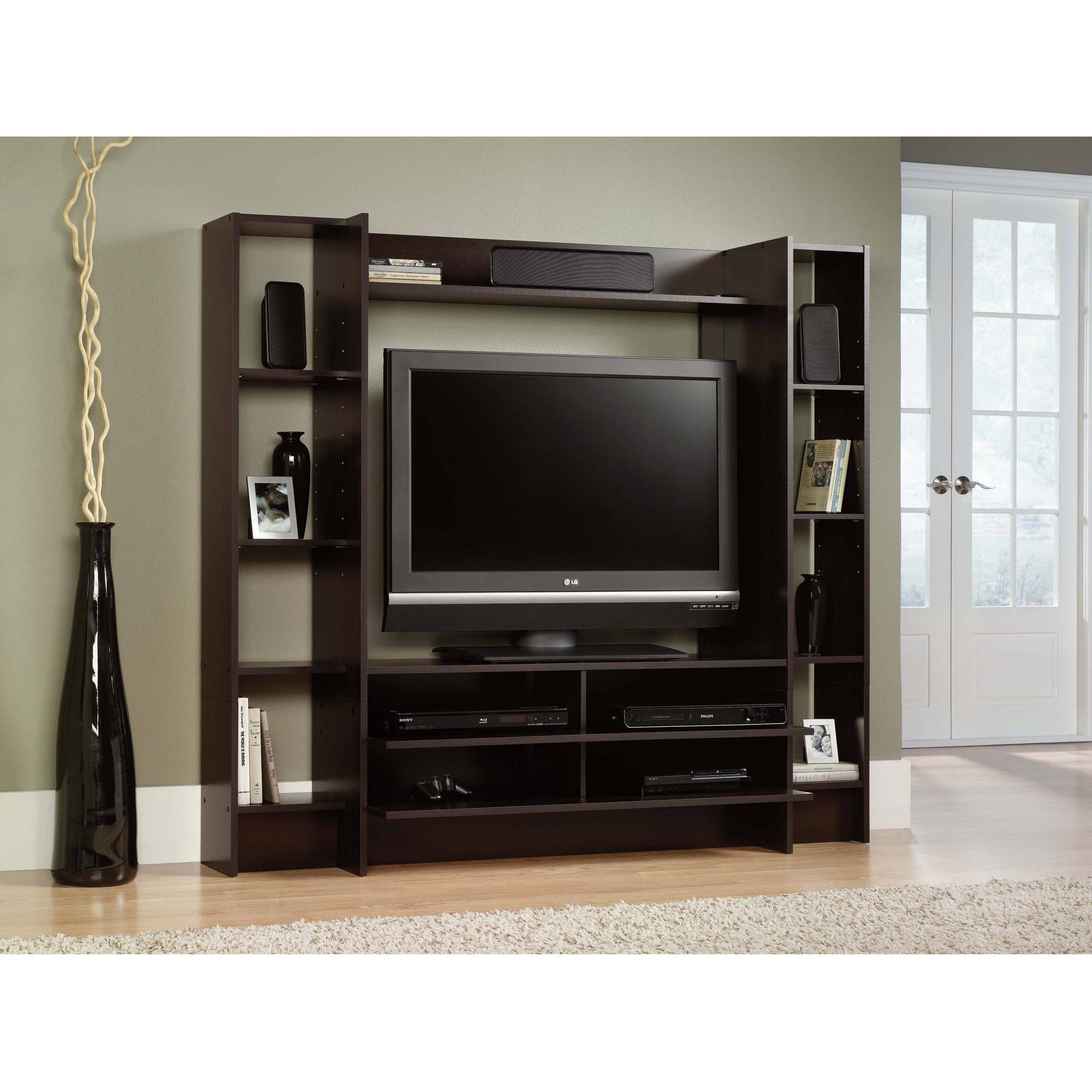 "Black Entertainment Center Wall Unit acme milo entertainment center for tv up to 60"", sandy black"