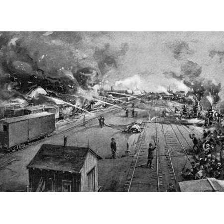 Pullman Strike 1894 Nfreight Cars Burning At The Illinois Central Railroad Yards In Kensington Near Chicago After Being Set Afire By Rioting Workers During The Pullman Strike 6 July 1894 Illustration
