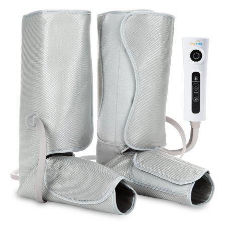 LiveFine Air Compression Leg Massager Pump Wraps, Foot & Calf with Handheld Controller, 2 Modes & 3 Intensities Relieve Fatigue & Improve Blood Flow Circulation (Compression Messagers)