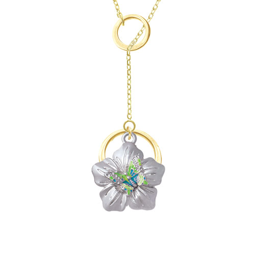 Lime Green & Hot Blue Butterfly on Large Flower Gold Tone Double Karma Lariat Necklace
