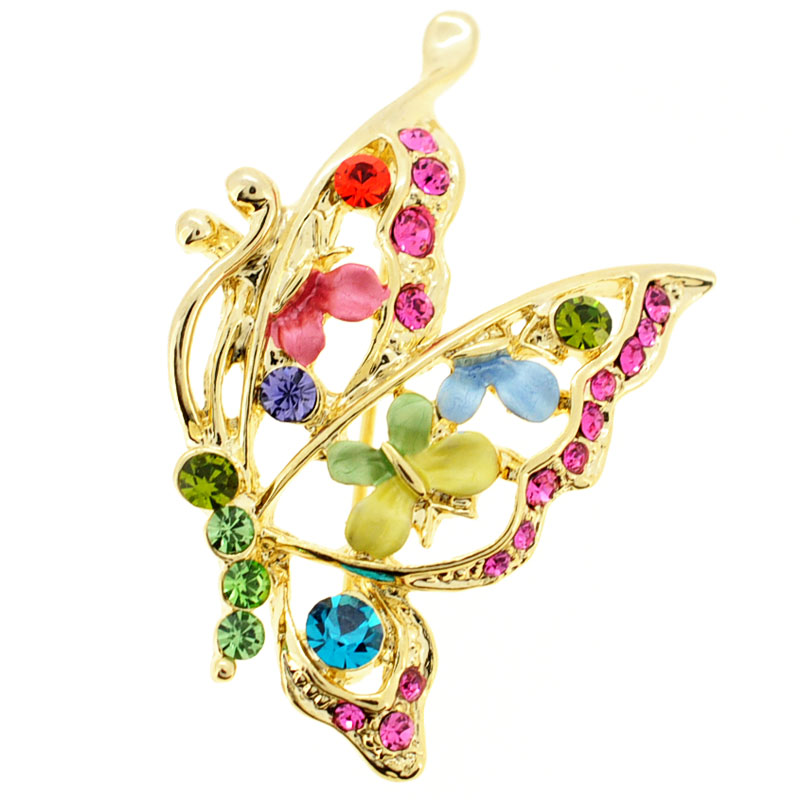 Multicolor Butterfly Crystal Pin Brooch by