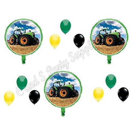 Tractor Birthday Party Decorations (12 pc Green Farm tractor Birthday Party Balloons Decorations Supplies)