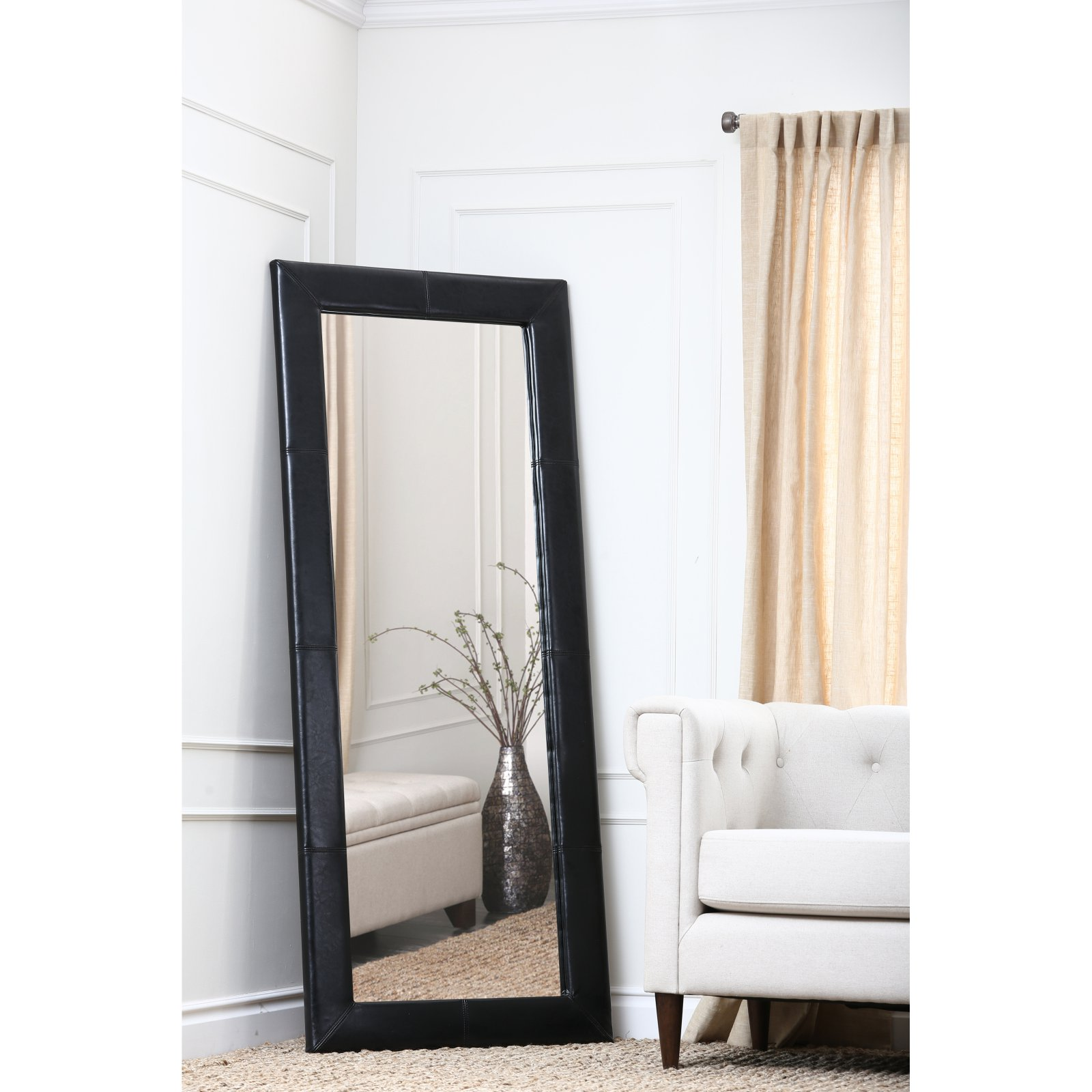 tall standing mirrors. Abbyson Black Leather Floor Mirror - 31W X 70H In. Tall Standing Mirrors