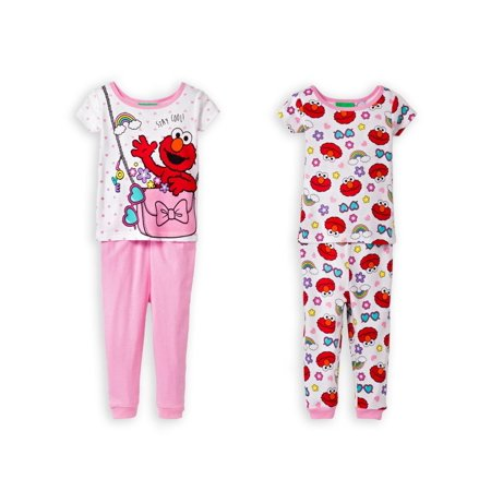 Sesame Street Elmo & Cookie Monster Little Girls Cotton Pajama Set, Pink, Size: 3T