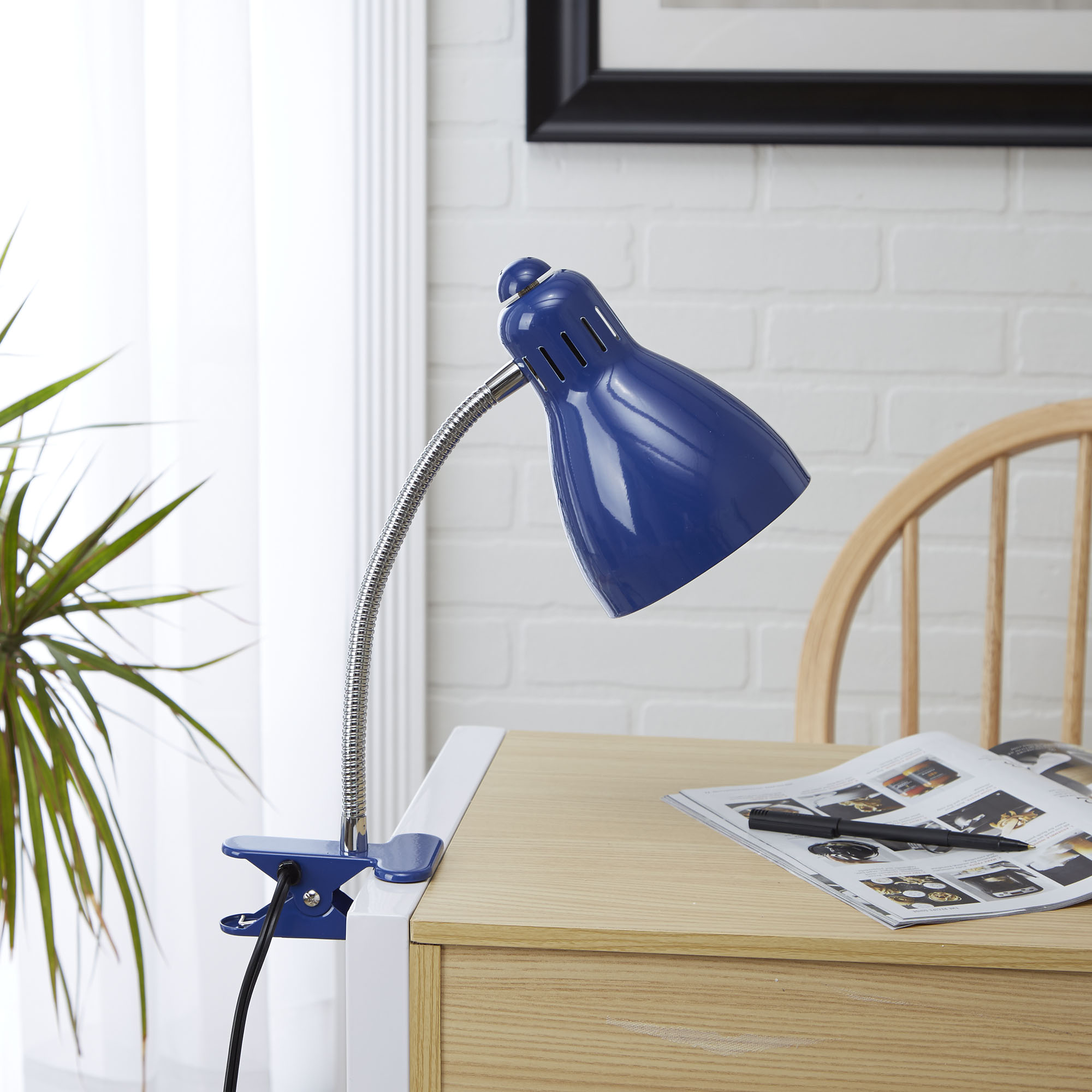 Mainstays Gooseneck Clip Lamp, CFL bulb included, Black