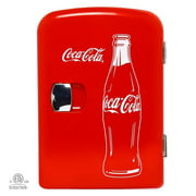 Coca-Cola Classic Red Portable 6 Can Thermoelectric Mini Fridge Cooler/Warmer, 4 L/4.2 Quarts Capacity, 12V DC/110V AC for home, dorm, car, boat, beverages, snacks, skincare, cosmetics, medication