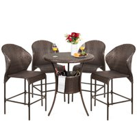 Best Choice Products 5-Piece Outdoor Patio Furniture Wicker Bistro Bar Table Set w/ Ice Bucket