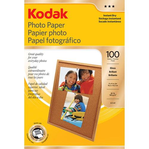 "Kodak 4"" x 6"" Gloss Inkjet Photo Paper, 100-Pack"