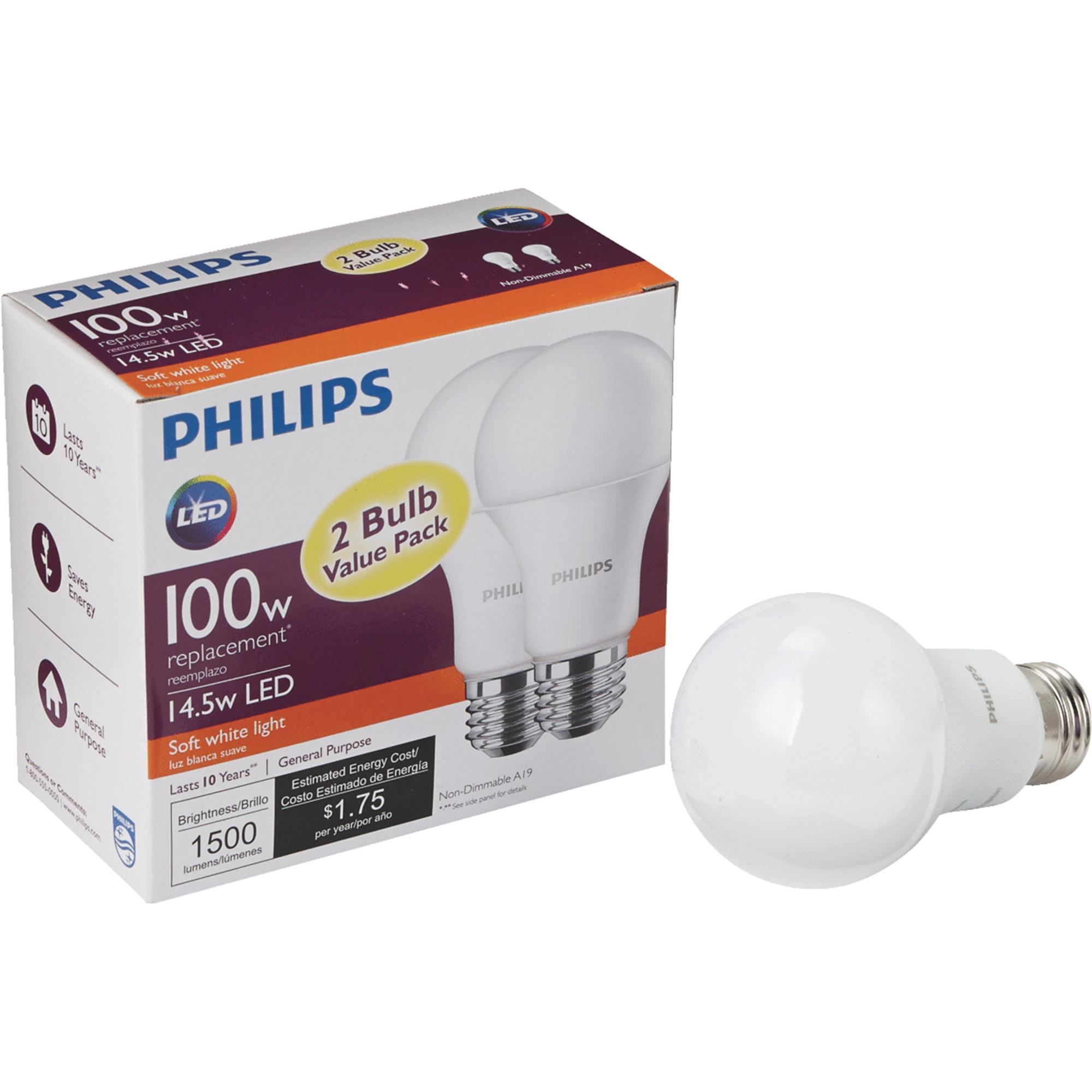 Philips LED Light Bulb, A19, Soft White, 100 WE, 2 Ct