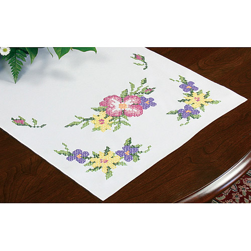 """Dimensions Wild Roses Table Runner Stamped Cross Stitch, 15"""" x 44"""""""