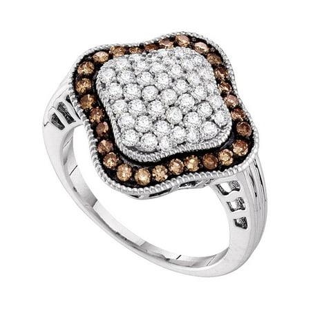 10kt White Gold Womens Round Cognac-brown Color Enhanced Diamond Quatrefoil Cluster Ring 1.00 Cttw - image 1 de 1