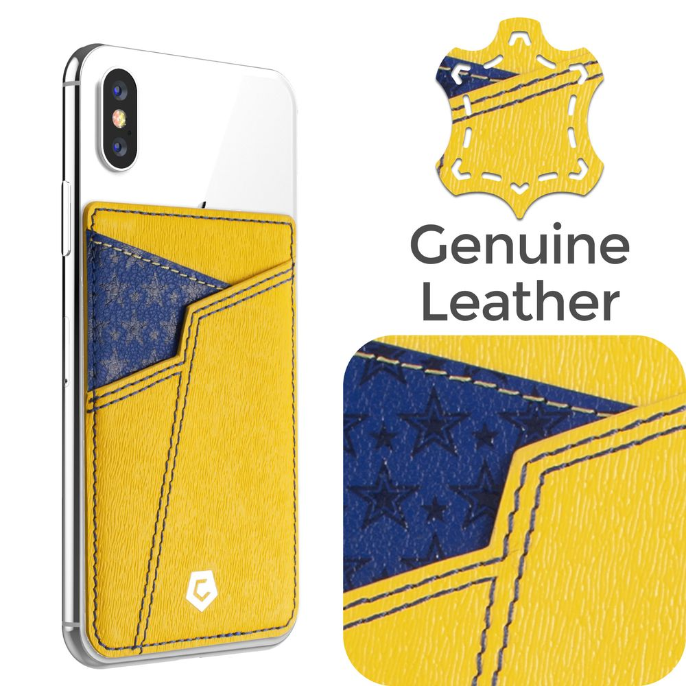 Stick-On Genuine Leather Card Holder Adhesive ID Business Credit Card Cash Cell Phone Wallet by Cobble Pro for Apple iPhone X 8 7 6s Plus SE LG Stylo 3 G6 Samsung Galaxy S9 S9+ S8 S8+ New York White