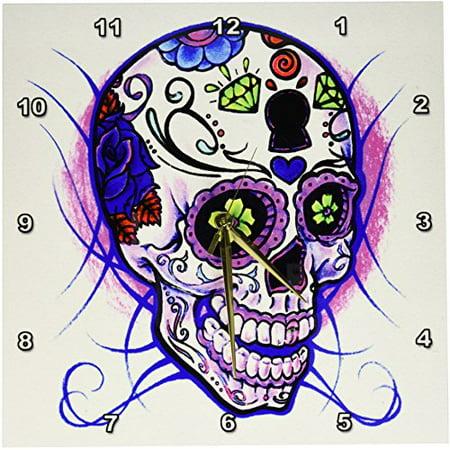 3dRose Diamond sugar skull. Purple., Wall Clock, 13 by 13-inch