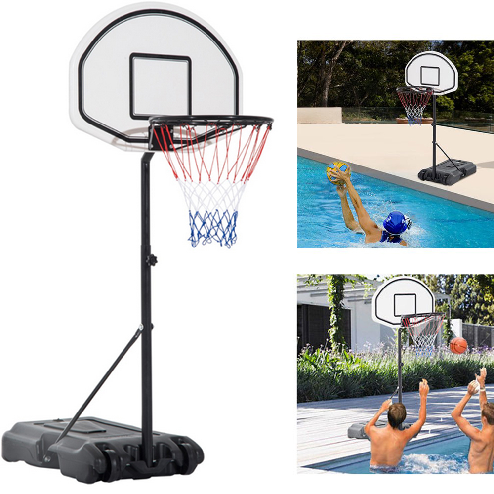 "UBesGoo Swimming Pool Basketball Hoop, Portbale Kids Junior Youth Water Game Basketball Goals Stand, with Wheels, 35.4"" - 47.2"" Adjustable Height"