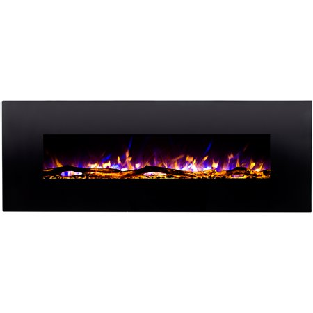 Regal Flame LW5072LE Erie 72 in. Black Ventless Heater Electric Wall Mounted Fireplace -