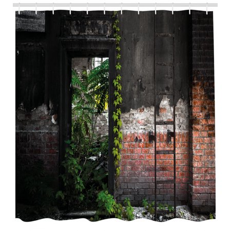 Industrial Decor Shower Curtain, Old Door Opening in a Desolate Industry Building Brick Wall Ivy Plants, Fabric Bathroom Set with Hooks, 69W X 84L Inches Extra Long, Multicolor, by
