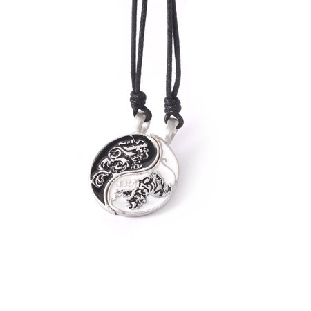 Glamorous Dragon Ying Yang Silver Pewter Charm Necklace Pendant Jewelry With Cotton Cord