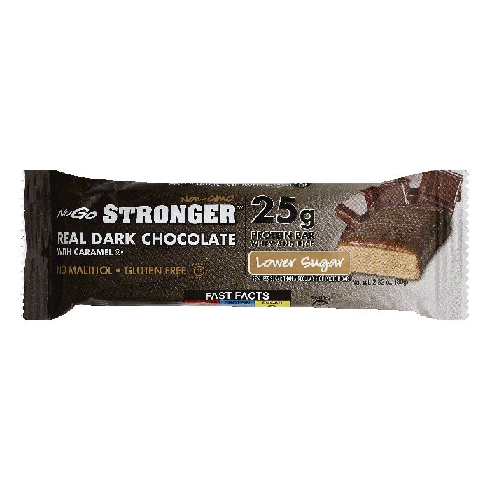 NuGo Real Dark Chocolate with Caramel Protein Bar, 2.82 OZ (Pack of 12)