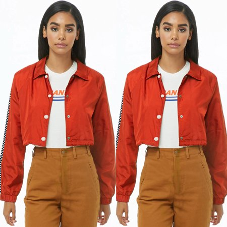 Womens Fashion Short Coat Coral Short Jacket With Striped Splicing Buttons Turn-down Collar (Columbia Womens Coral)