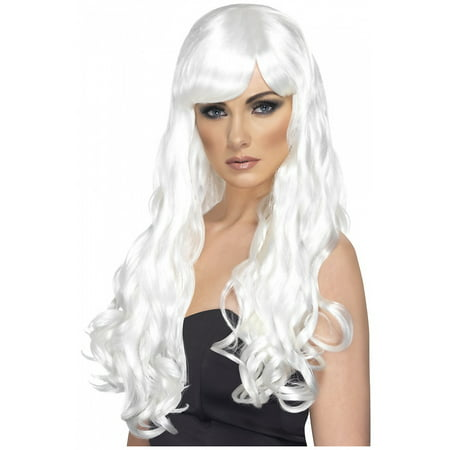 Desire Long Curly Costume Wig Adult White - White Wig For Kids