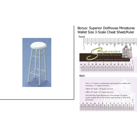 """Dollhouse Miniature 3"""" White Barstool w/3-Scale Wallet Ruler"""