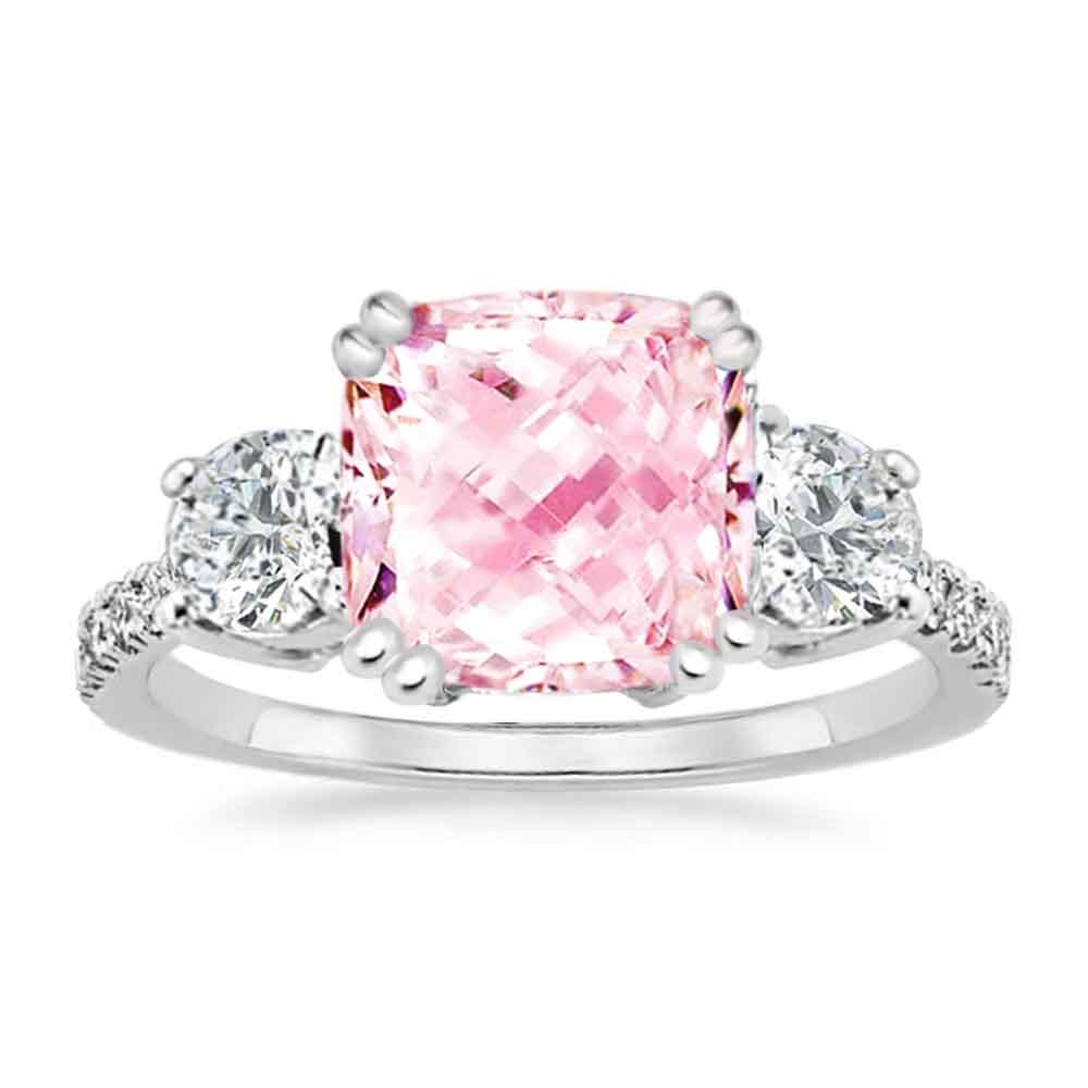 Sterling Silver Cubic Zirconia Cushion Cut 3-Stone Royal Engagement Wedding Ring