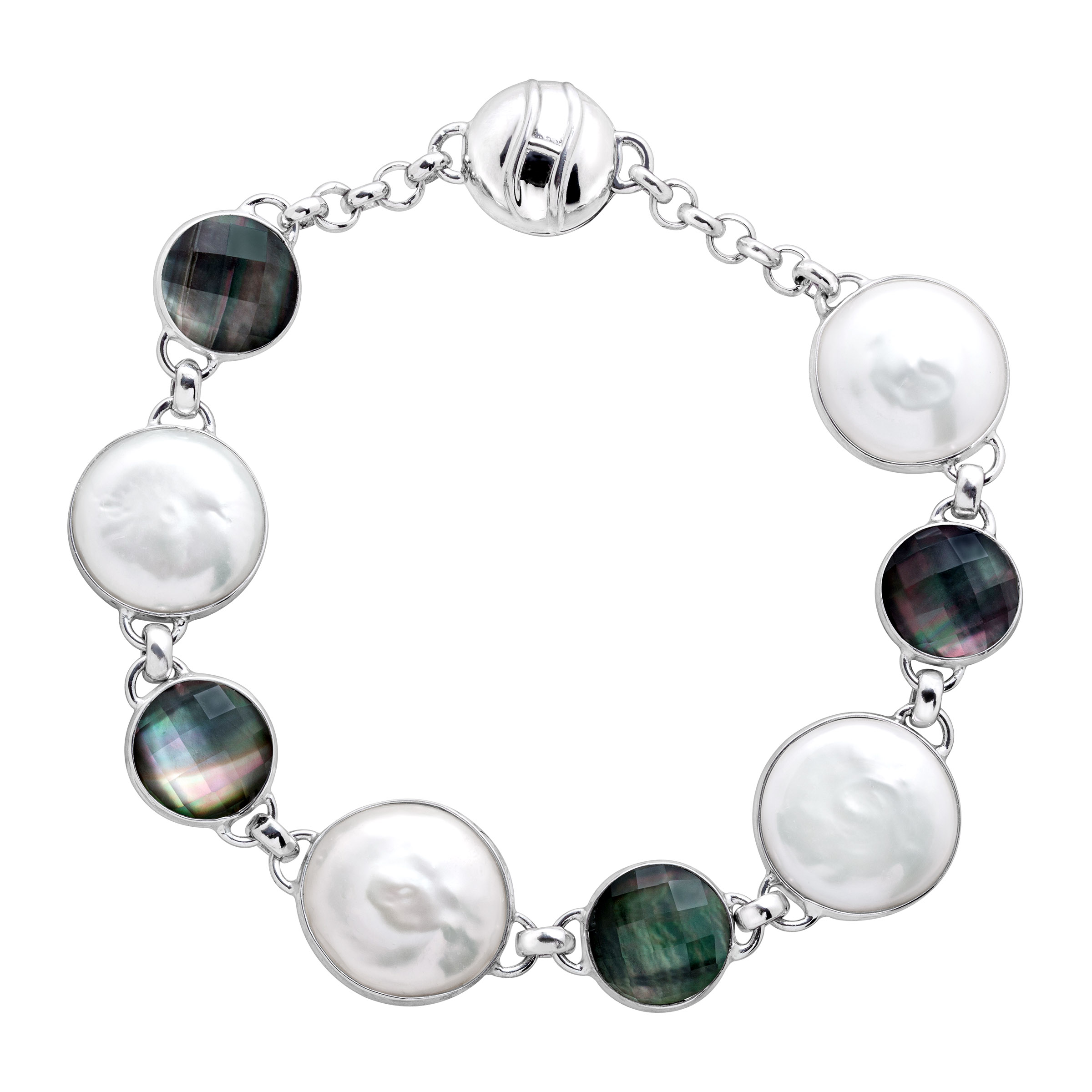 Honora Freshwater Coin Pearl & Black Mother-of-Pearl Doublet Link Bracelet in Sterling Silver by Richline Group