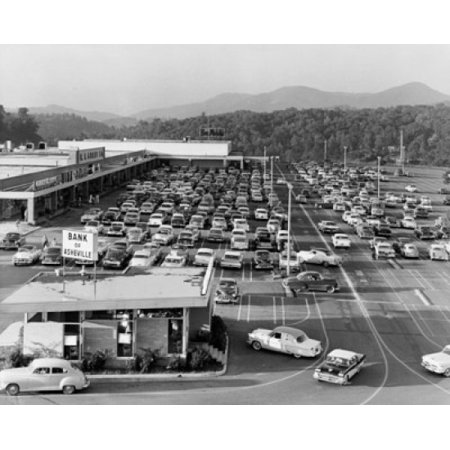 High angle view of cars parked in front of a shopping mall Westgate Shopping Center West Asheville North Carolina USA Canvas Art -  (24 x (Westgate Mall)