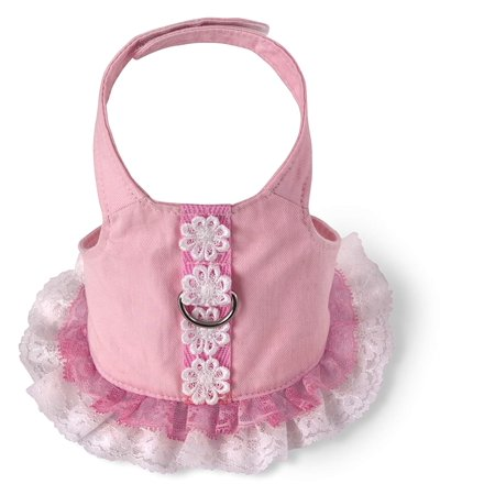 Dog Harness Dress, Pink, Small, Available in Pink or Yellow.Both dresses are made of breathable cotton material By Doggles