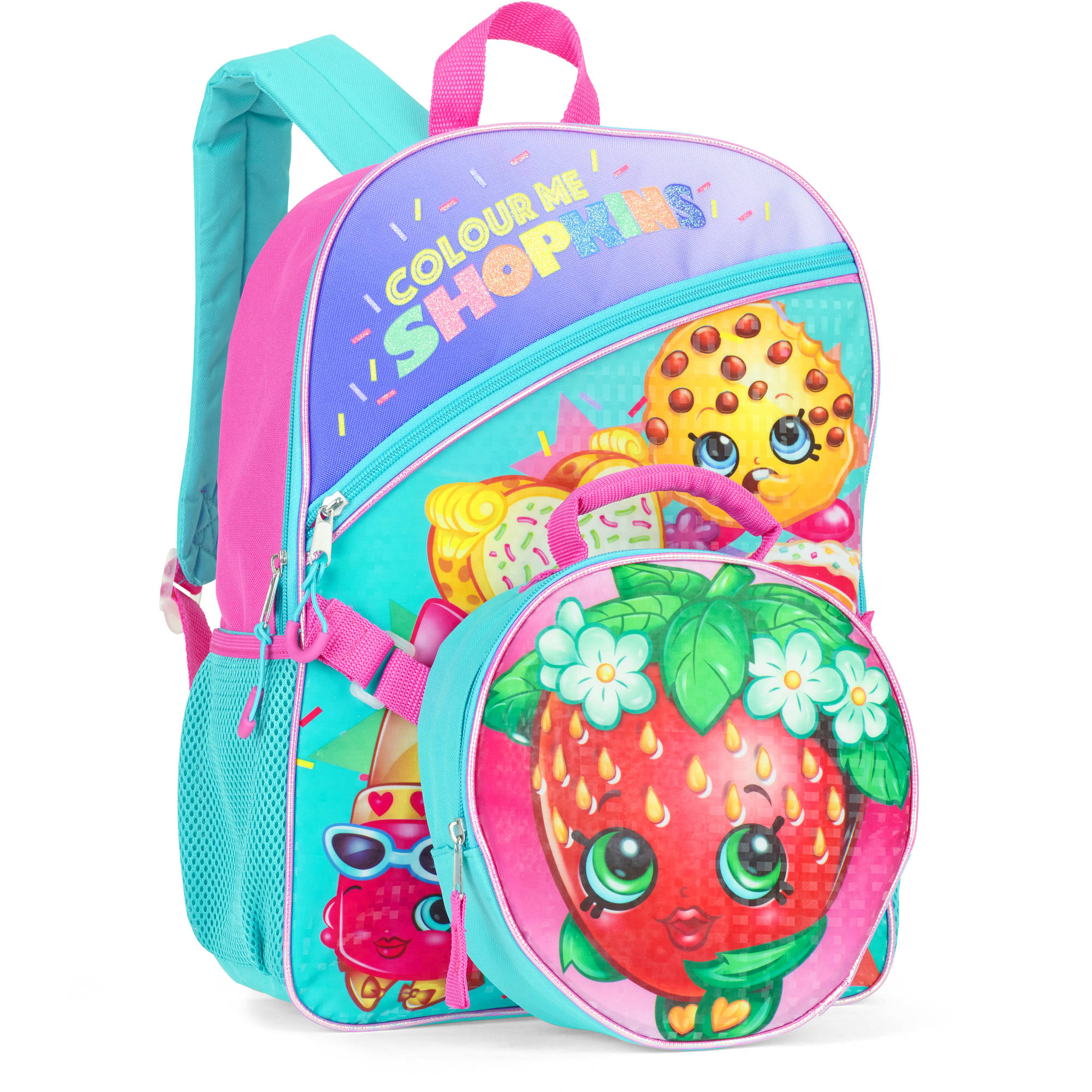 "Strawberry Shopkins 16"" Full-Size Backpack With Detachable Lunch Bag"