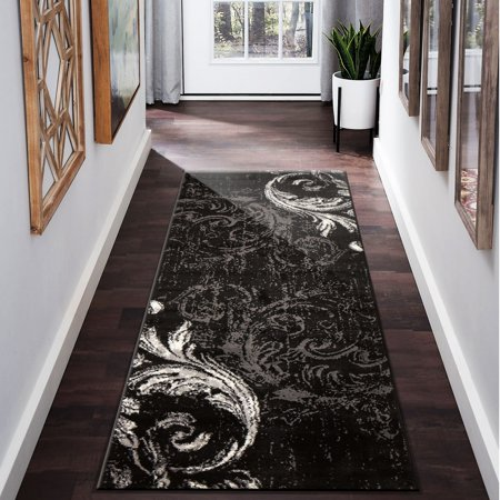 LR Home Infinity 2x8 Black Gray Swirl Feather Damask Distressed Indoor Contemporary Modern Runner Rug - 2 ft. 1 in. x 7 ft. 5 in. (5 1 2 X 7 1 2 Cardstock)