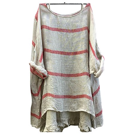 Women Long Sleeve Cotton Linen Stripe Blouse Casual Loose Tunic Asymmetric