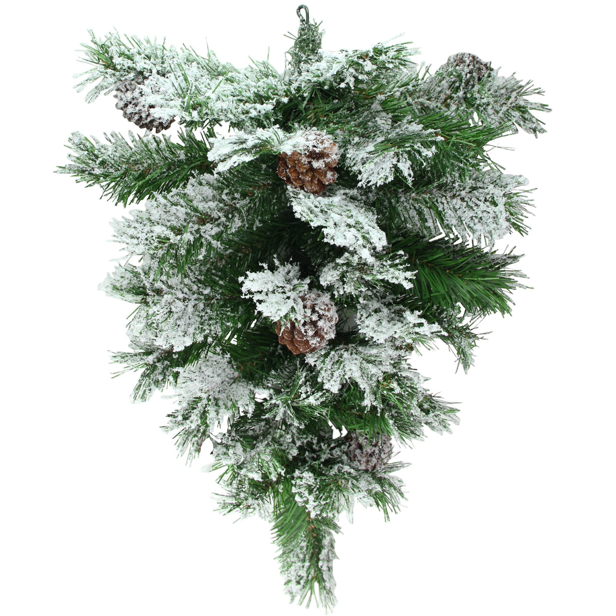 "22"" Snowy Flocked and Pinecones Christmas Teardrop Swag - Unlit"