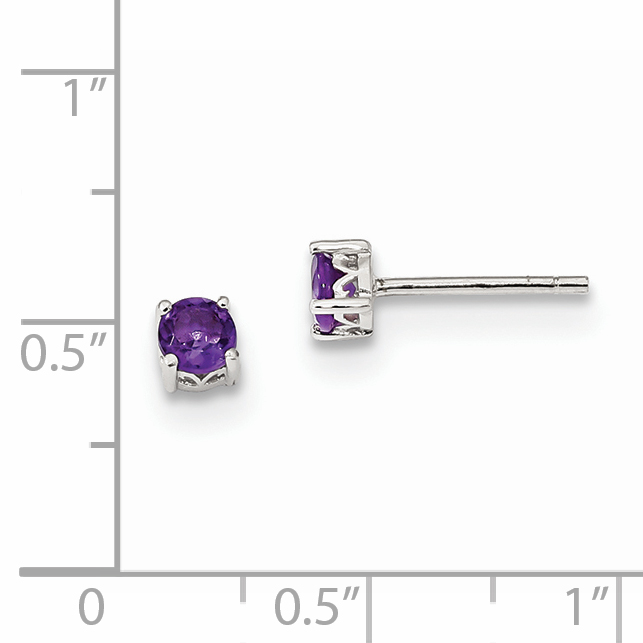 Jewelry Birthstone Earrings Sterling Silver Rhodium-plated 4mm Round Rhodolite Garnet Post Earrings