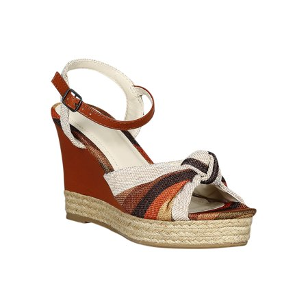 632747b5cc6 Women Striped Bow Open Toe Espadrille Platform Wedge Sandal 18536