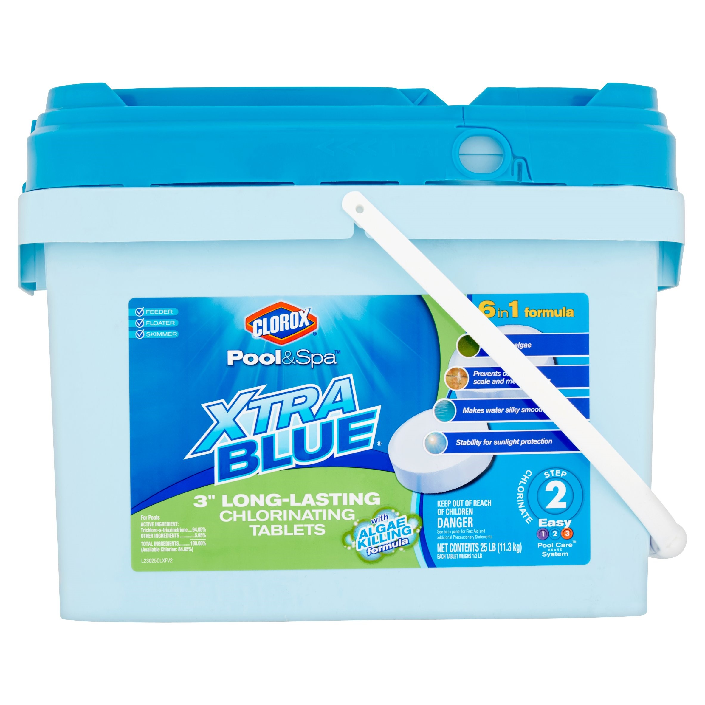 "Clorox Pool&Spa Xtra Blue 3"" Long-Lasting Chlorinating Tablets Pool Chlorine, 25 lb"