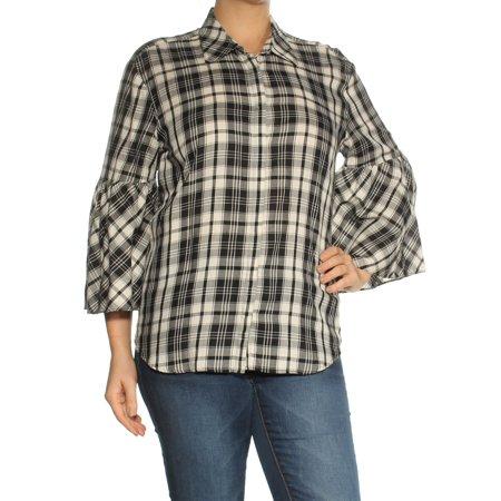 Ralph Lauren Womens Black Plaid Bell Sleeve Collared Button Up Top  Size: L