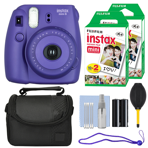Fuji FujiFilm Instax Mini 8 Instant Film Camera Grape + 40 Film Accessory Kit by Fujifilm