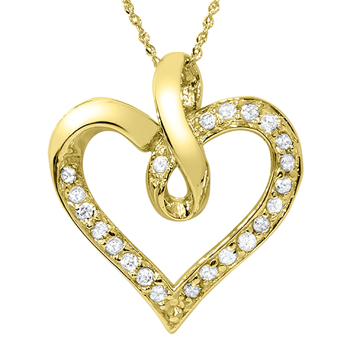 Pompeii3 14K Yellow Gold 1/4ct Diamond Heart Pendant