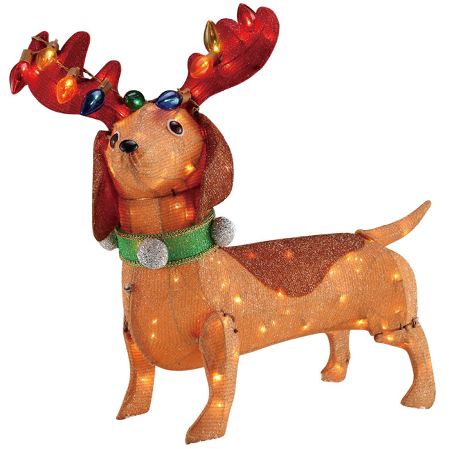 Holiday Time Christmas Decor 30IN TINSEL DACHSHUND WITH 100 CLEAR ...